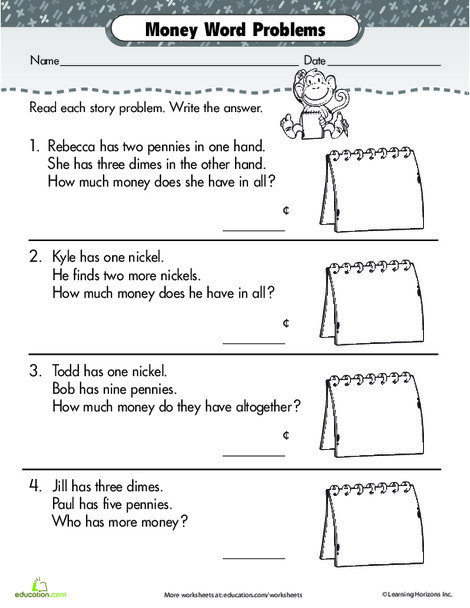 First Grade Math Worksheets: Penny, Nickel, Dime Word Problems