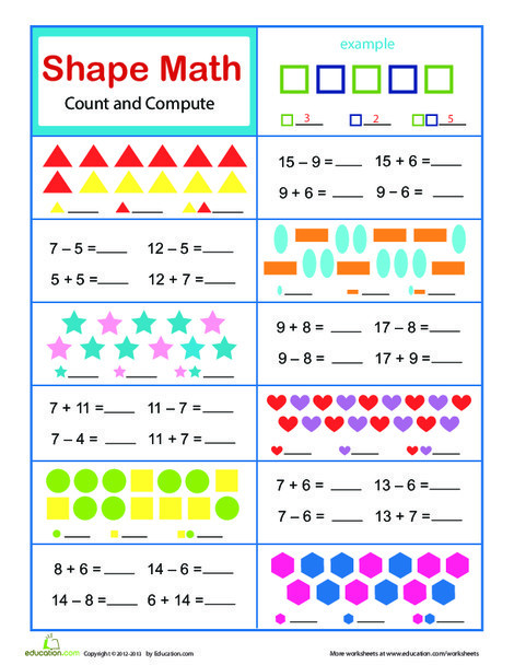 First Grade Math Worksheets: Practice Test: Math Facts to 18