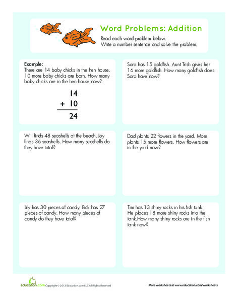 Second Grade Math Worksheets: Word Problems: Addition
