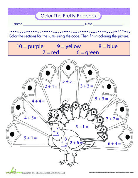 First Grade Math Worksheets: Color the Peacock!