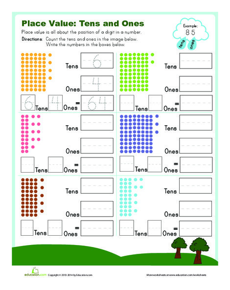 First Grade Math Worksheets: Tens and Ones