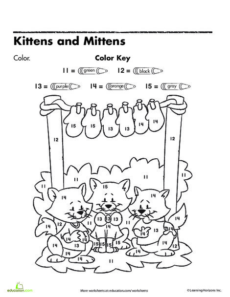 Kindergarten Math Worksheets: Color by Numbers: Kittens and Mittens