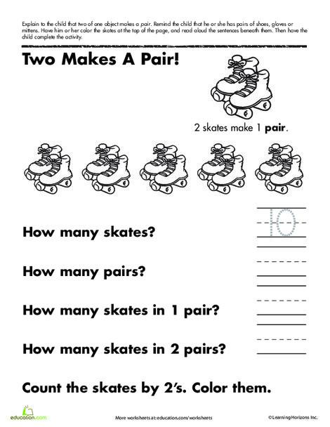 Kindergarten Math Worksheets: Counting Pairs