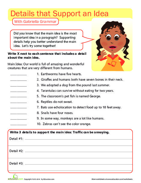 Third Grade Reading & Writing Worksheets: Writing Workout: Supporting the Main Idea