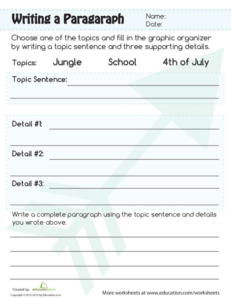Third Grade Reading & Writing Worksheets: Paragraph Writing Worksheet