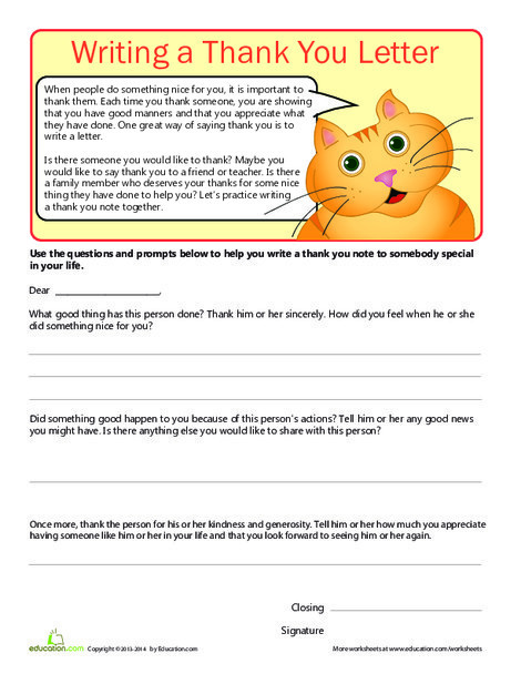 Third Grade Reading & Writing Worksheets: Writing a Thank You Letter