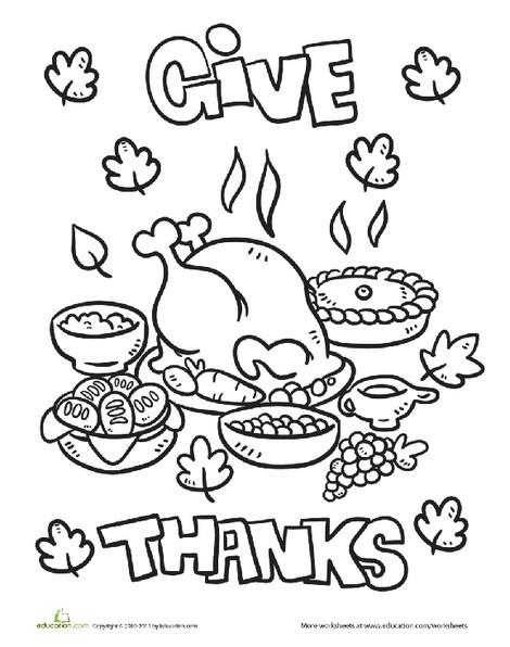 Kindergarten Holidays Worksheets: Thanksgiving Dinner Coloring Page