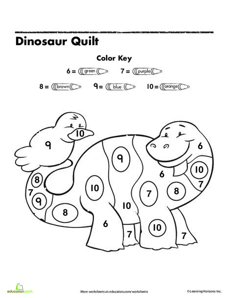 Preschool Math Worksheets: Dinosaur Color By Number