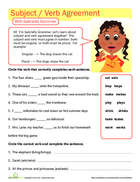 Third Grade Reading & Writing Worksheets: Great Grammar: Subject Verb Agreement