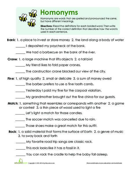 Third Grade Reading & Writing Worksheets: Multiple Meaning Words Worksheet
