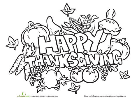 Kindergarten Holidays Worksheets: Happy Thanksgiving Coloring Page