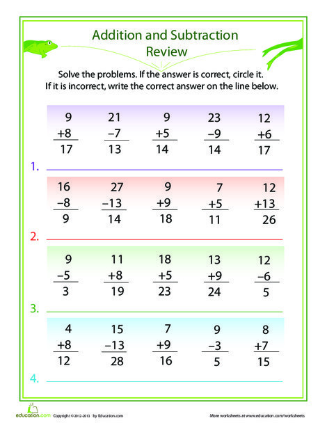 First Grade Math Worksheets: Check the Facts: Addition and Subtraction