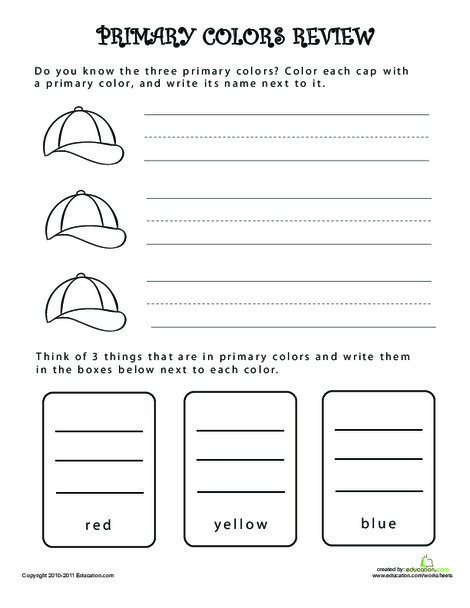 Kindergarten Coloring Worksheets: What are Primary Colors Review