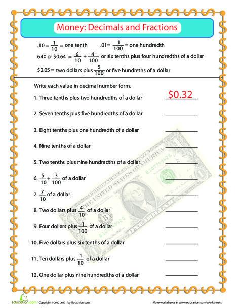 Fourth Grade Math Worksheets: Money Practice: Fractions & Decimals