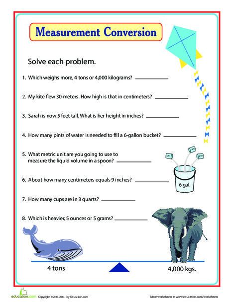 Third Grade Math Worksheets: Units of Measurement: Comparing and Converting
