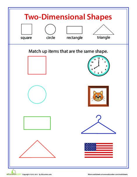 Kindergarten Math Worksheets: Two-Dimensional Shape Match-Up