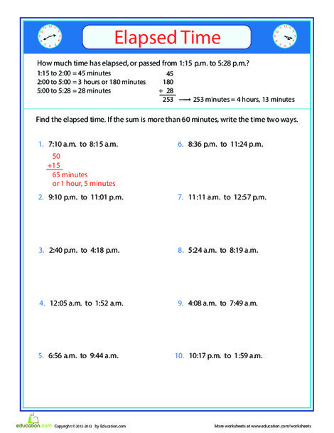 Third Grade Math Worksheets: How Much Time Has Gone By?