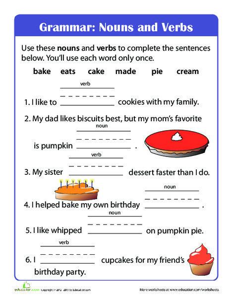 First Grade Reading & Writing Worksheets: Beginning Grammar: Nouns and Verbs