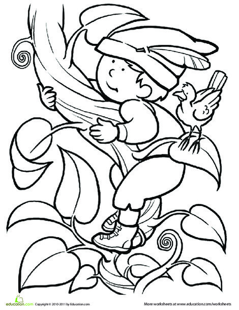 First Grade Coloring Worksheets: Color Jack and the Beanstalk