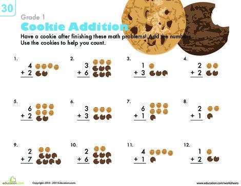 First Grade Math Worksheets: Count 'Em Up: Cookie Addition