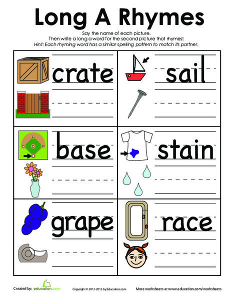 First Grade Reading & Writing Worksheets: Long A Rhymes