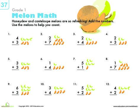 First Grade Math Worksheets: Count 'Em Up: Melon Addition