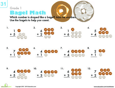 First Grade Math Worksheets: Count 'Em Up: Bagel Addition
