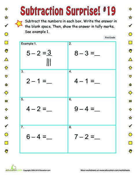 First Grade Math Worksheets: Subtraction Surprise #19