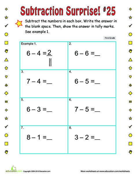 First Grade Math Worksheets: Subtraction Surprise #25
