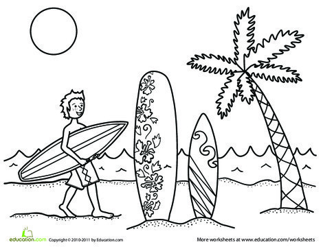 First Grade Seasons Worksheets: Surfer Dude Coloring Page