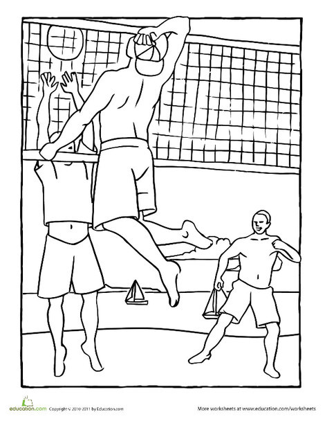 Kindergarten Seasons Worksheets: Beach Volleyball Coloring Page