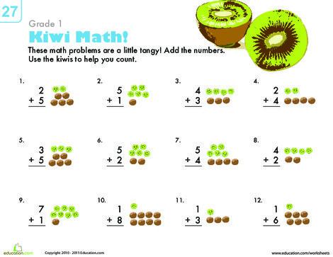 First Grade Math Worksheets: Count 'Em Up: Kiwi Addition