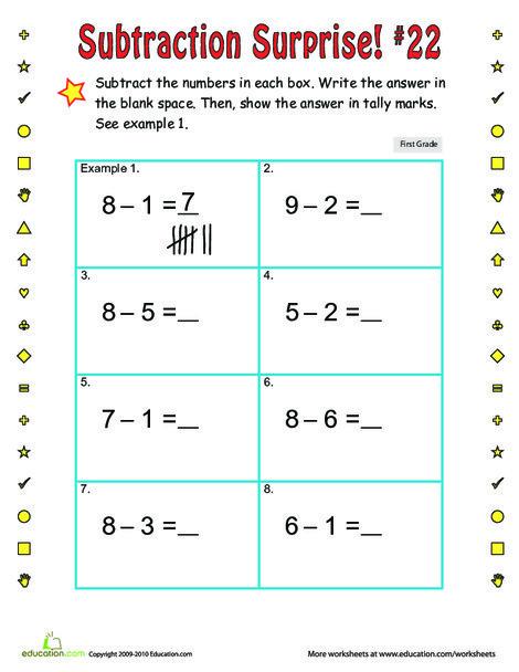 First Grade Math Worksheets: Subtraction Surprise #22