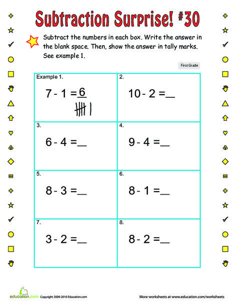First Grade Math Worksheets: Subtraction Surprise #30