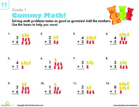 First Grade Math Worksheets: Count 'Em Up: Gummy Bear Addition