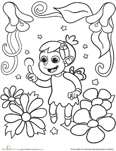 Preschool Coloring Worksheets: Color the Young Fairy