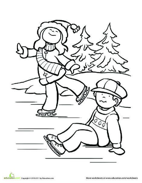 Kindergarten Seasons Worksheets: Ice Skating Coloring Page