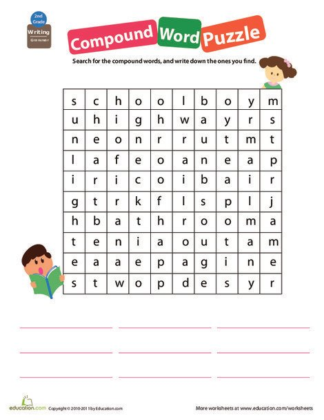 Second Grade Reading & Writing Worksheets: Get a Grip on Grammar: Compound Words #7