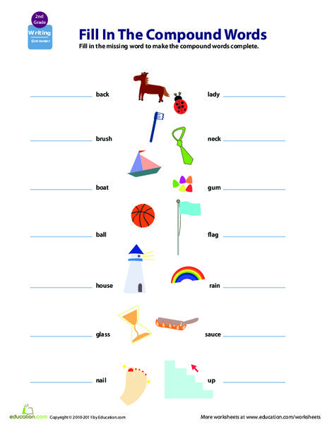 Second Grade Reading & Writing Worksheets: Get a Grip on Grammar: Compound Words #8