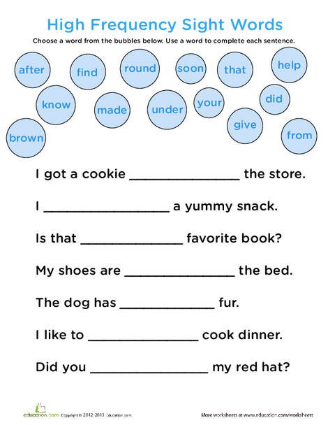 First Grade Reading & Writing Worksheets: Complete the Sentence: Common Sight Words