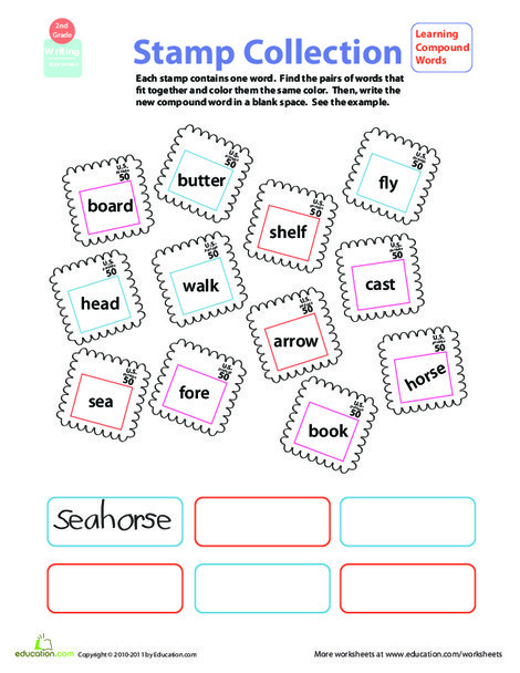 Second Grade Reading & Writing Worksheets: Get a Grip on Grammar: Compound Words #4