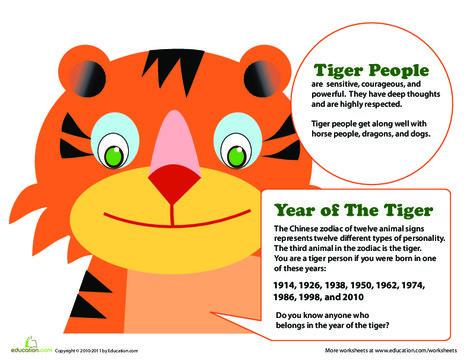Kindergarten Social studies Worksheets: Year of the Tiger