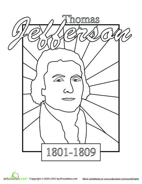 Kindergarten Social studies Worksheets: Color a U.S. President: Thomas Jefferson