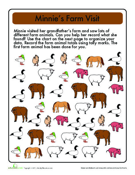 First Grade Math Worksheets: Tally Time: On the Farm