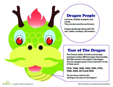 Kindergarten Social studies Worksheets: Year of the Dragon