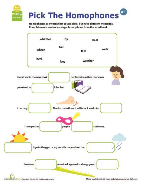 Second Grade Reading & Writing Worksheets: Get a Grip on Grammar: Homophones #7