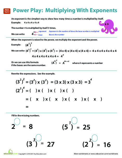 Fifth Grade Math Worksheets: Multiplying Numbers with Exponents