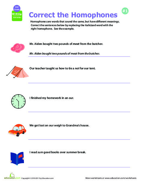 Second Grade Reading & Writing Worksheets: Get a Grip on Grammar: Homophones #3