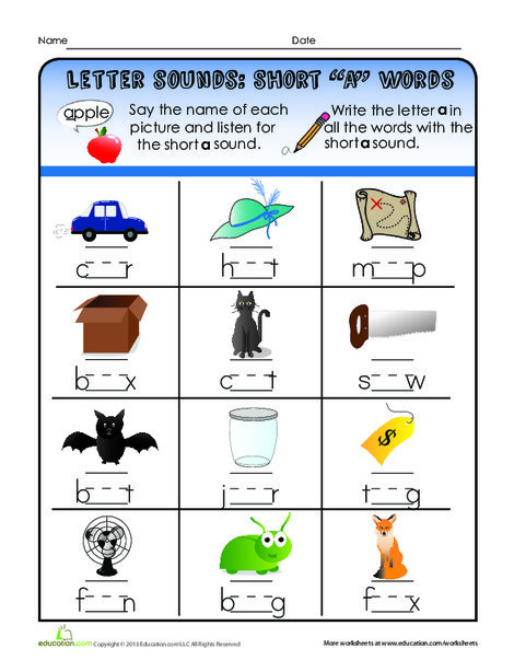 """First Grade Reading & Writing Worksheets: Short """"A"""" Words"""