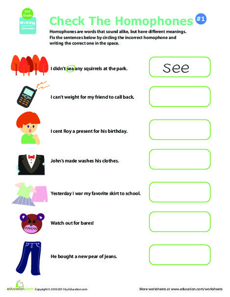 Second Grade Reading & Writing Worksheets: Get a Grip on Grammar: Homophones #5